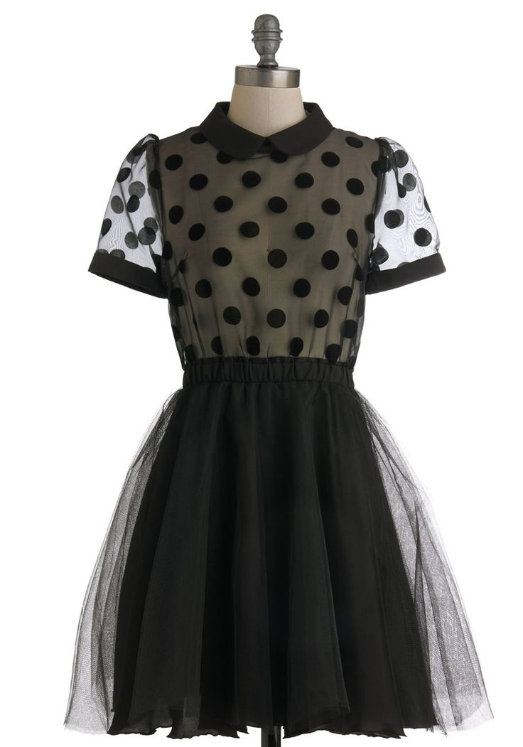 Sheer to Your Heart Dress - Black, Polka Dots, Party, Cocktail, Vintage