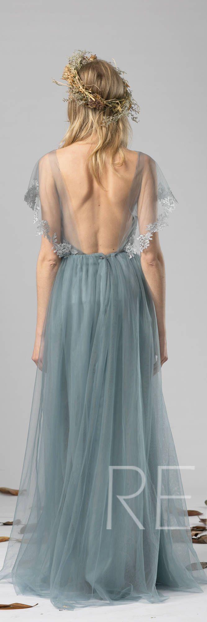 Bridesmaid Dress Dusty Blue Tulle Dress Wedding Dress,Lace Ruffle Sleeve Party Dress,Round Neck Maxi Dress,Open Back Evening Dress(LS408)