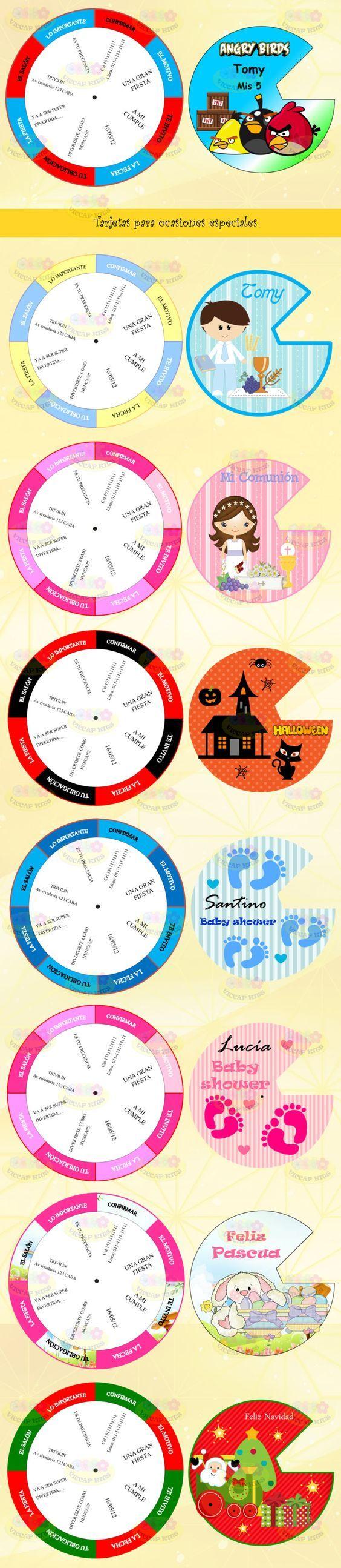 (8) Kit Imprimible Tarjetas Giratorias Invitaciones Cumples Boda - $ 44,99 en MercadoLibre