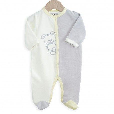 Nouvelle collection automne hiver 2016. Pyjama en velours et aux couleurs pastels. Idéal pour les premiers jours de bébé. #maternité #bébé #naissance #nouveauté #hiver