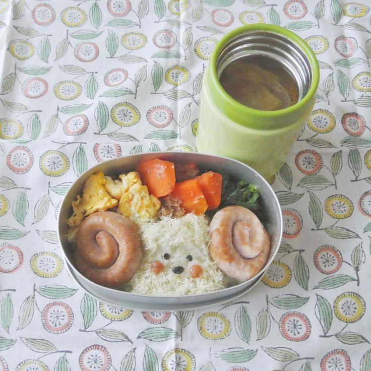 ぐるぐるウインナーを買ったのでヒツジにしたつもりが…なんか難しかった スパムエッグはケチャップが煮物に付かないように、おかずの内側に入れてます。 . ウインナー、人参の土佐煮、ほうれん草のおかか和え、スパムエッグ、大根とベーコンのカレースープ . sausage,stewed carrots, boiled spinach mixed with finely chopped katsuobushi, fried egg & spam, curry soup . #弁当 #bento #お弁当 #暮らし #お昼ごはん #lunch #ランチ #料理 #Cooking  #Japanesefood #meal #lunchbox #vsco #instafood #手作り弁当 #サラメシ #ヒツジ #micvany #スープジャー #lin_stagrammer #KURASHIRU #不器用 #オ弁当 #キャラ弁 #大人のデコ弁 #顔弁 #デコ弁 #deco #face #sheep