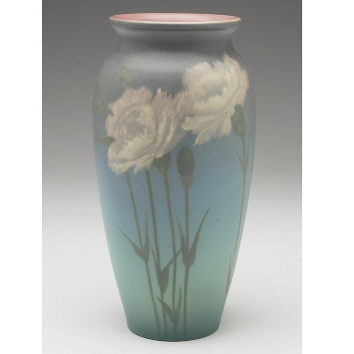 Rookwood vase, Vellum glaze with nicely painted white carnations on a blue background, executed by Ed Diers in 1926