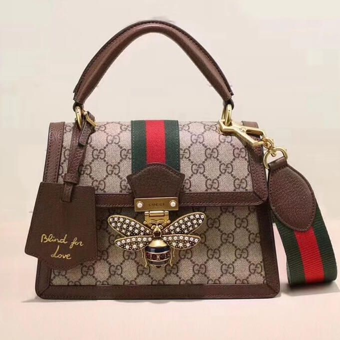 2b74052cf32470 Gucci Queen Margaret GG Small Top Handle Bag 476541 Brown 2018 ...
