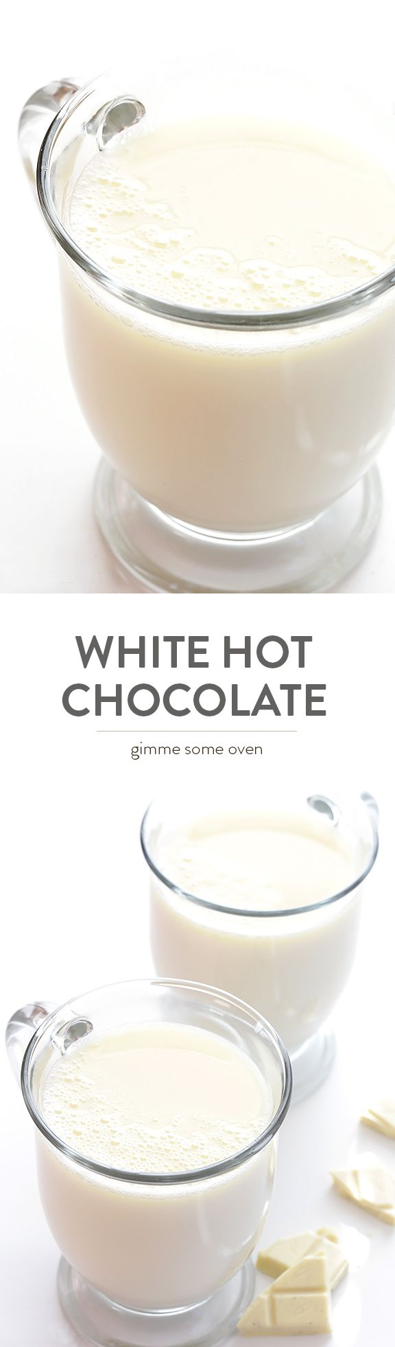 This Homemade White Hot Chocolate recipe is super easy to make with 3 ingredients, and it's way cheaper than the coffee shop version! | gimmesomeoven.com