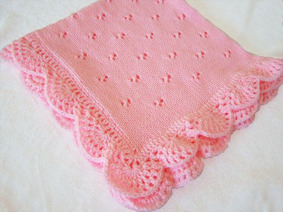 30 inch square Pink baby blanket by PinkyRoo on Etsy, $59.00
