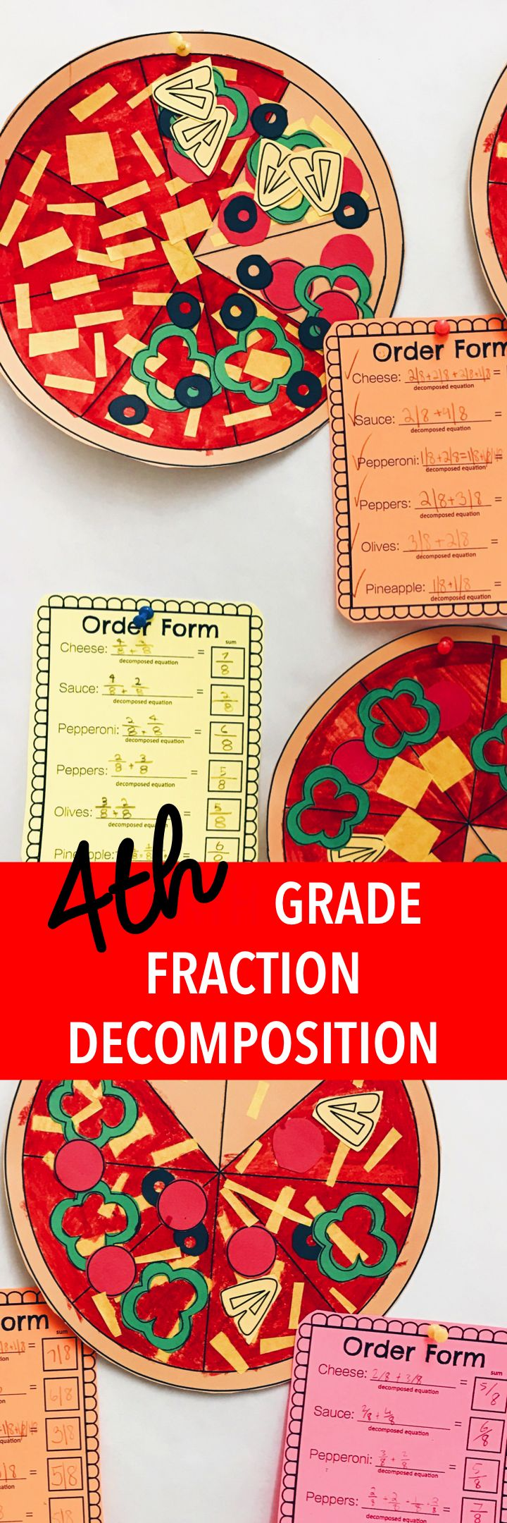 Fourth grade fraction decomposition project. Make these fourth grade fraction pizzas in math to help your students with adding fractions with like denominators.