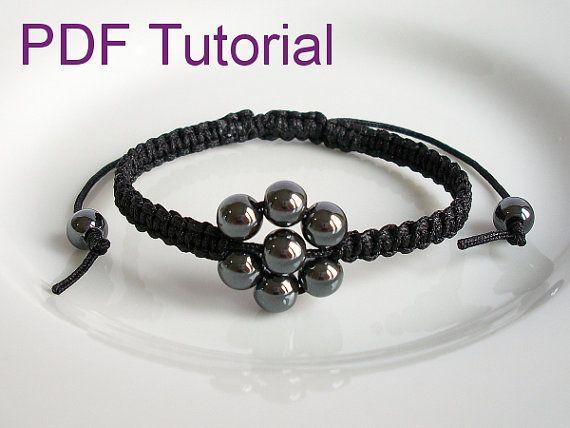 PDF Tutorial Beaded Flower Square Knot Macrame Bracelet Pattern, Hematite Adjustable Friendship Slider Bracelet