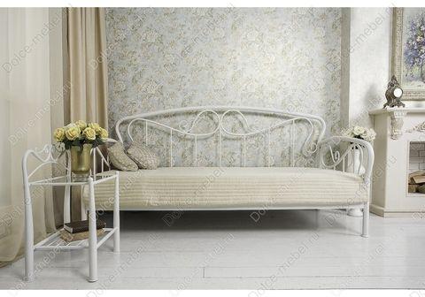 Кровать-кушетка односпальная Sofa металлическая кованая 90х200 белая