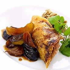 Crisp Roast Gressingham Duck with a Forcemeat Stuffing and a Confit of Apples and Prunes