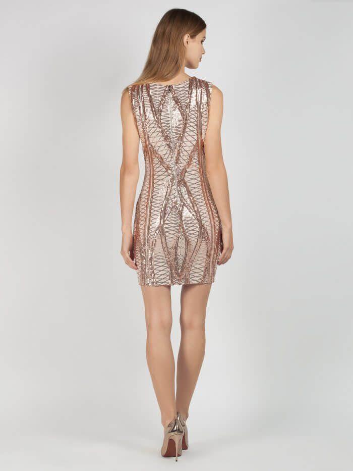c16f336db26c Βραδινό Μπεζ Φόρεμα με Χρυσές Παγιέτες