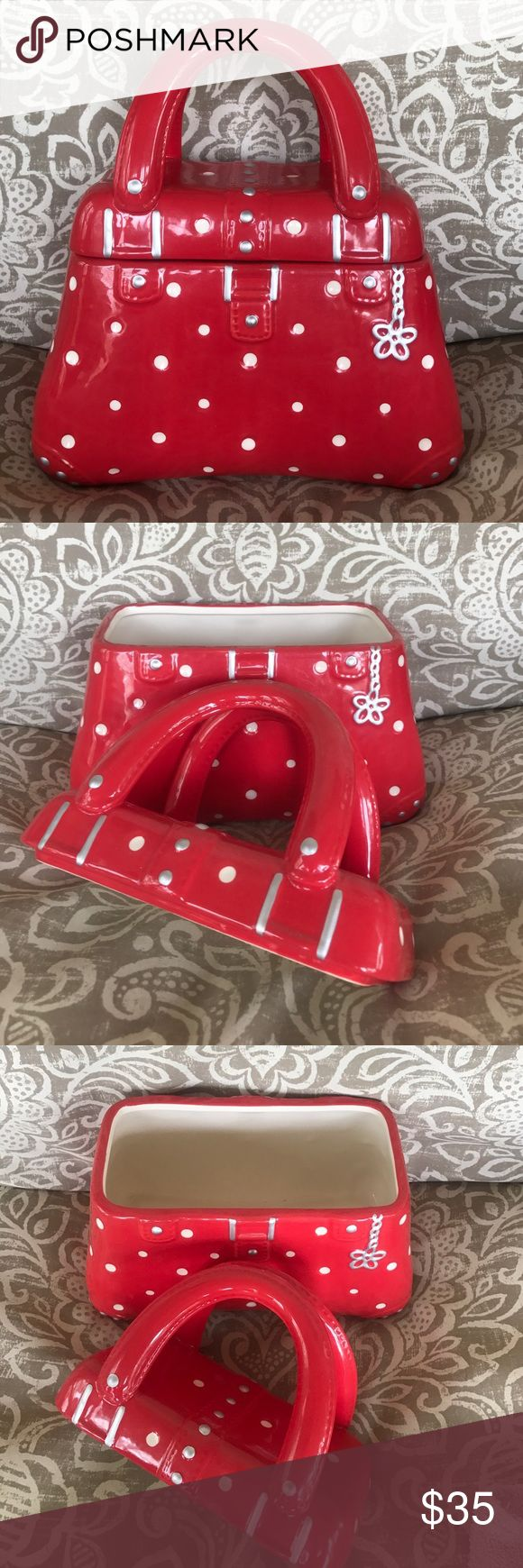 Temptations red dot purse cookie jar QVC polkadot Excellent used condition with no chips. Please also see my other Temptations items. Temptations Other