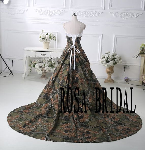 Camo bridal dress Camouflage wedding gown Camo by rosabridal