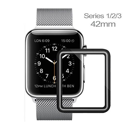 Apple Watch Screen Protector 42mm iWatch Tempered Glass Screen Protector Anti-Scratch Scratch Resistant Full Coverage Scratch Proof Screen Film for Apple iWatch 42mm Series 1/2/3 [1 Pack]