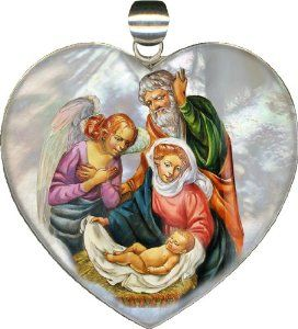 "The Holy Family Heart Pendant 2.5""h. ""Museum Jewelry"" Collection Handpainted on Mother-of-pearl in Sterling Silver"