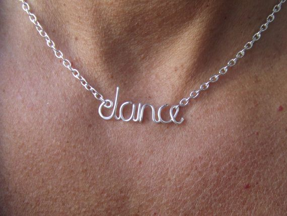 Hey, I found this really awesome Etsy listing at https://www.etsy.com/listing/122062487/dance-necklace-silver-word-necklace