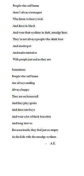 Self harm is something people need to be aware of, if any of my followers need someone to talk to, im always here.
