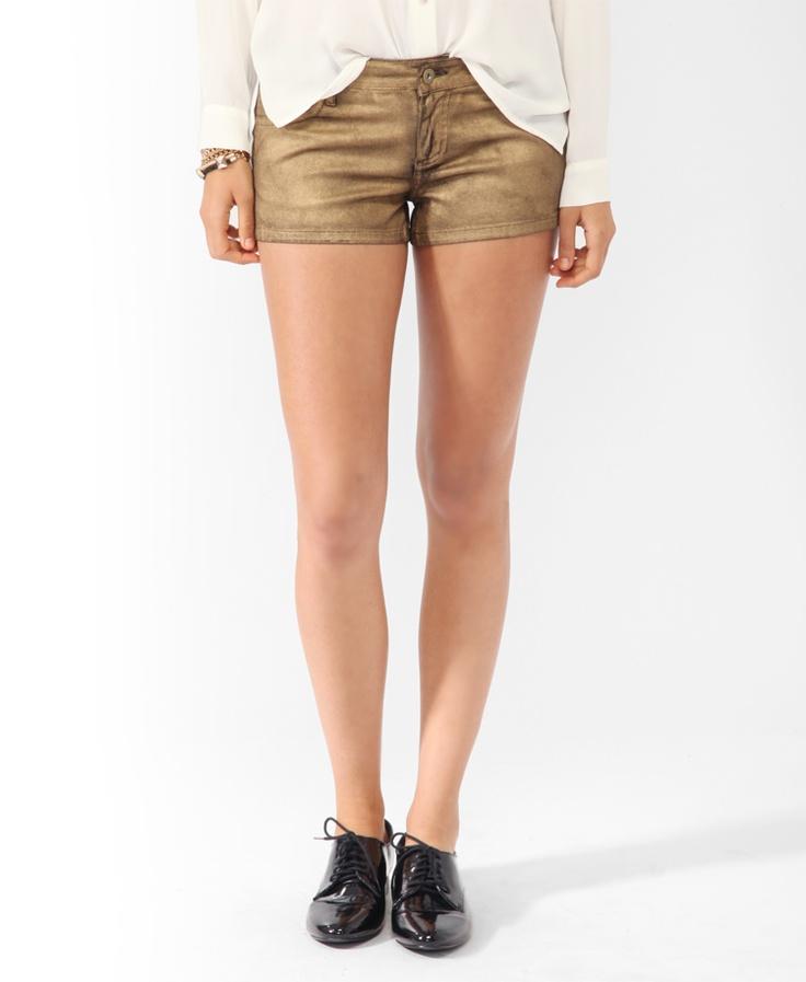 Metallic Coated Denim Shorts