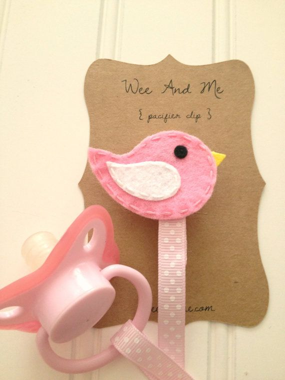 Pink & White Bird - Felt Pacifier Clip - Handmade Baby Accessories by Wee and Me on Etsy, $9.00