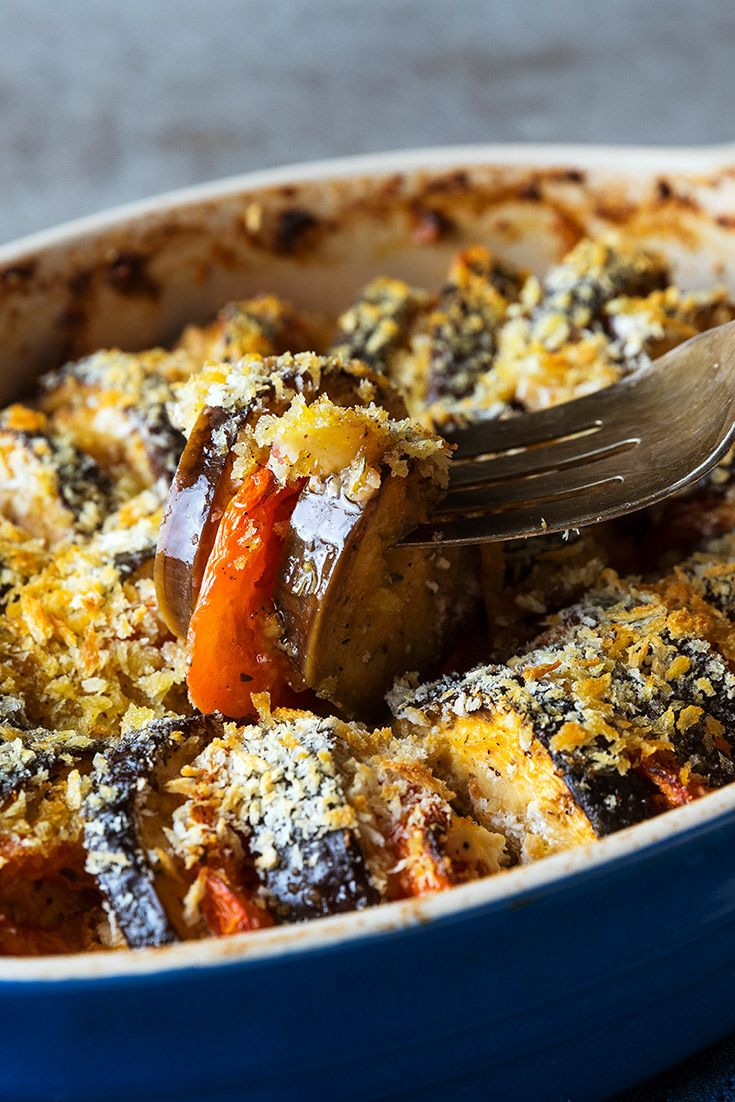 Tender slices of eggplant, layers of tomatoes and chunks of tangy goat cheese are a quick and easy side dish, perfect to accompany any entrée.