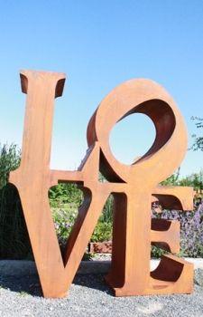 Edelrostshop von Rostikal - Wohn / Garten Dekoartikel - LOVE, 3D Buchstaben aus rostigem Metall