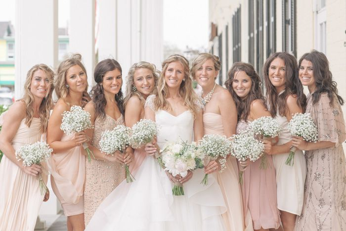 Bridesmaid´s dresses + Baby´s Breath - Meg and Scott Wed at Congress Hall captured by Kelly Kollar - via Grey likes weddings (Florist: Savannah's Garden)