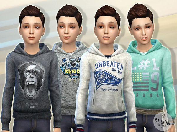 Hoodie for Boys P03 by lillka at TSR via Sims 4 Updates