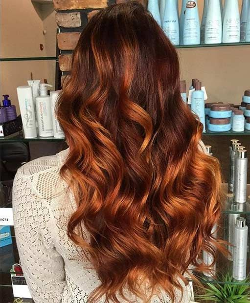 Caramel and Copper Balayage Highlights for Brunettes
