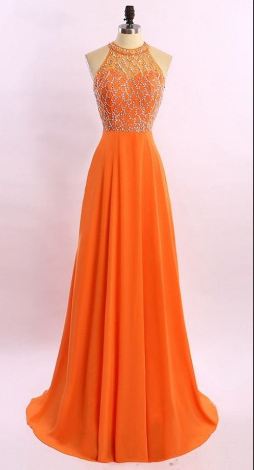 Marvelous Orange Prom Dresses Chiffon Beaded Evening Gowns