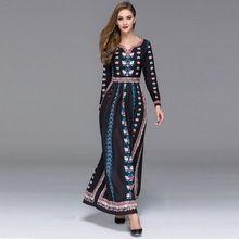 2016 Элегантная Мода Европейская Мода V-образным Вырезом Печати Полный Рукав Маленькие Цветы Длиной до пола Черный/Красный Богемной Платье(China (Mainland))