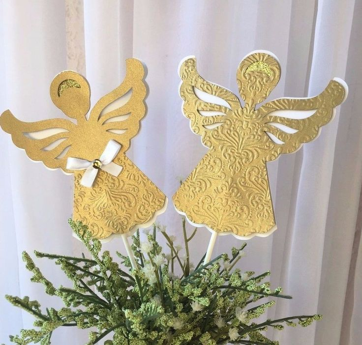 Baptism Decoration/ Christening/ Baptism centerpieces stick/ Baptism/ Angel/gold #Handmade