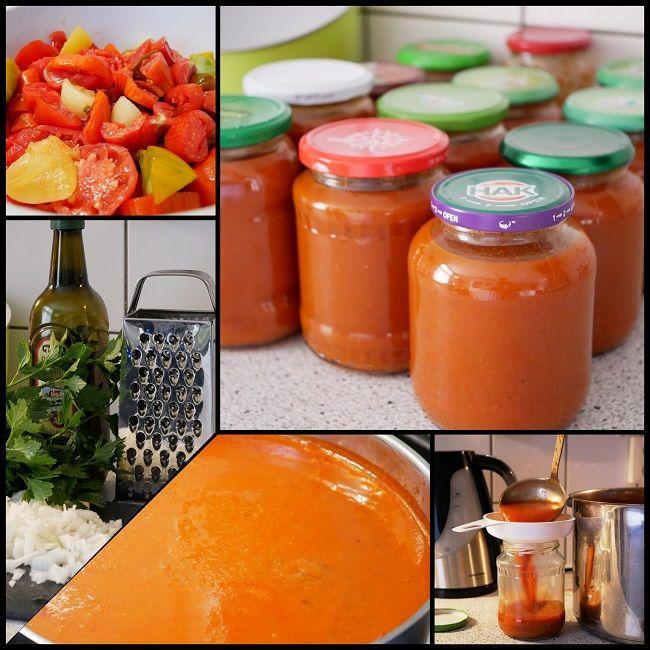 Dit is een tomaten-basissaus die je bijvoorbeeld kunt gebruiken als pastasaus.  INGREDIËNTEN:    tomaten   olijfolie   uien,gesnipperd   knoflook, geperst   courgettes,geraspt   en wat je verder dan ook wilt      RECEPT:  Aan de ingrediëntenlijst kun je dus zelf nog groenten en/of kruiden kunnen toevoegen; bijvoorbeeld een pepertjes, paprika of worteltjes geven gelijk al een natuurlijk zoetje, bleekselderij zorgt voor een fijne kruidigheid, of bedenk zelf wat je hebt en wilt gebr...