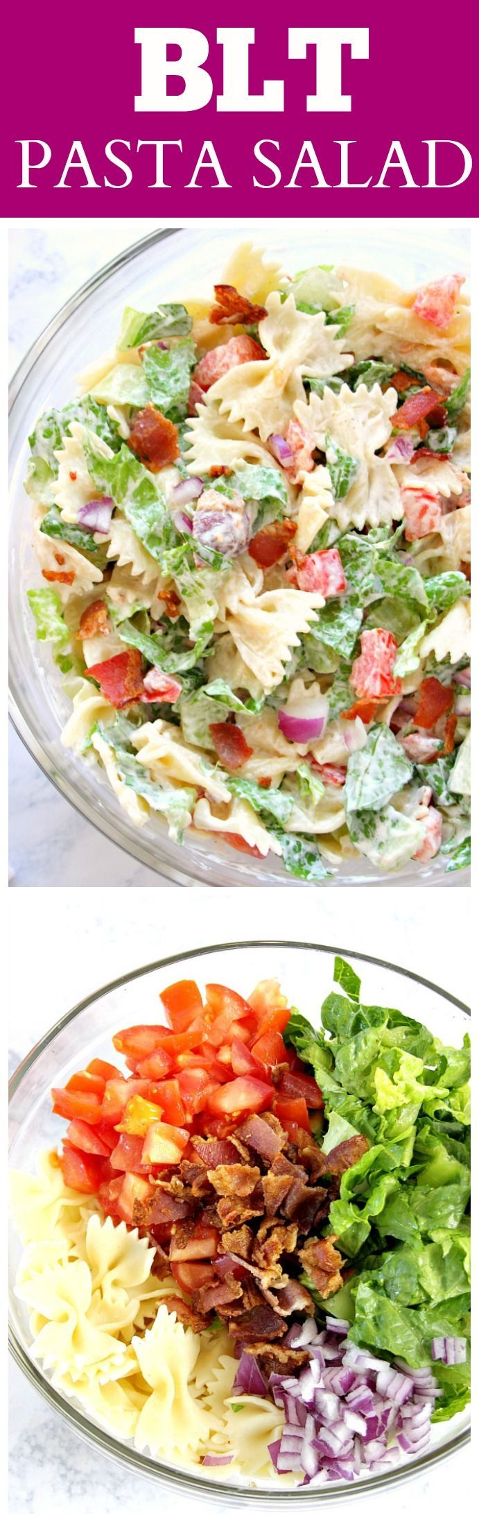 BLT Pasta Salad Recipe - delicious Summer pasta salad idea! Bacon, lettuce and tomatoes with farfalle pasta and creamy dressing. (cold vegetable snacks)