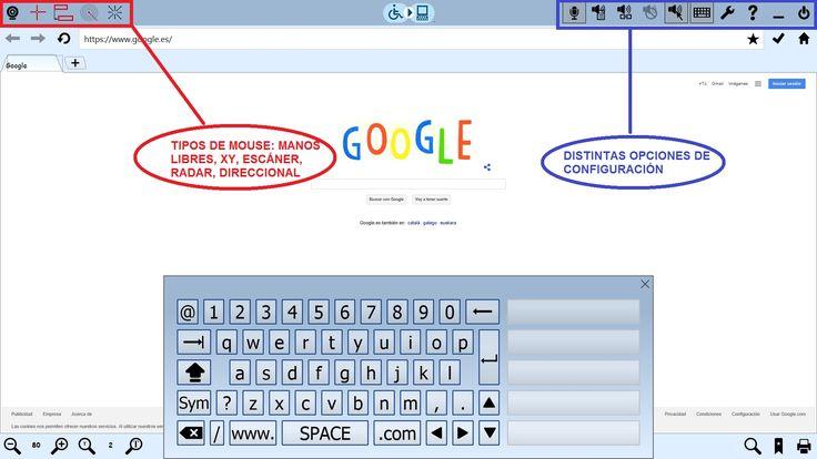 eSSential Accessibility, un navegador accesible con teclado virtual y distintos tipos de mouse.