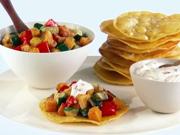 Get Roasted Vegetable Tostadas with Chipotle Cream Recipe from Food Network
