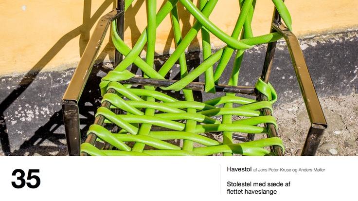 Havestol af Jens Peter Kruse og Anders Møller - Stolestel med sæde af flettet haveslange