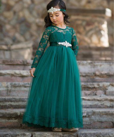 00d7127b57b1 Another great find on #zulily! Dark Green Isabelle Dress & Sash - Toddler &  Girls #zulilyfinds