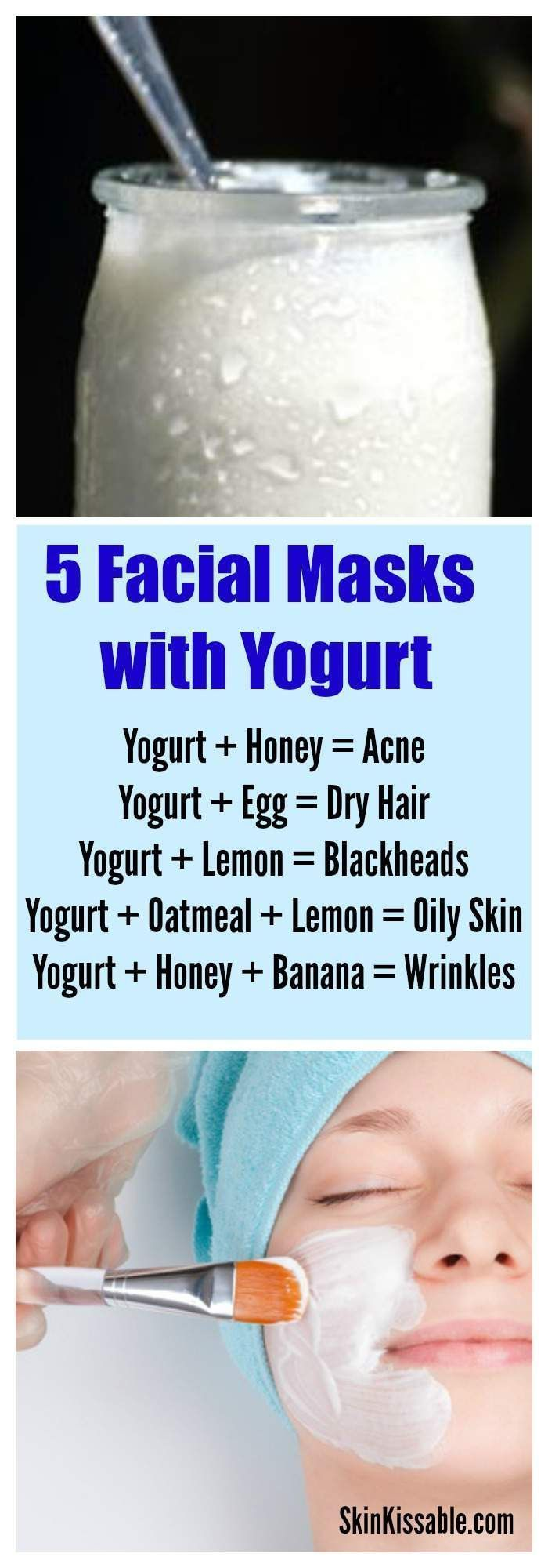 Yogurt homemade skin care masks & other diy remedies for wrinkles, acne, blackheads & more. #skincare