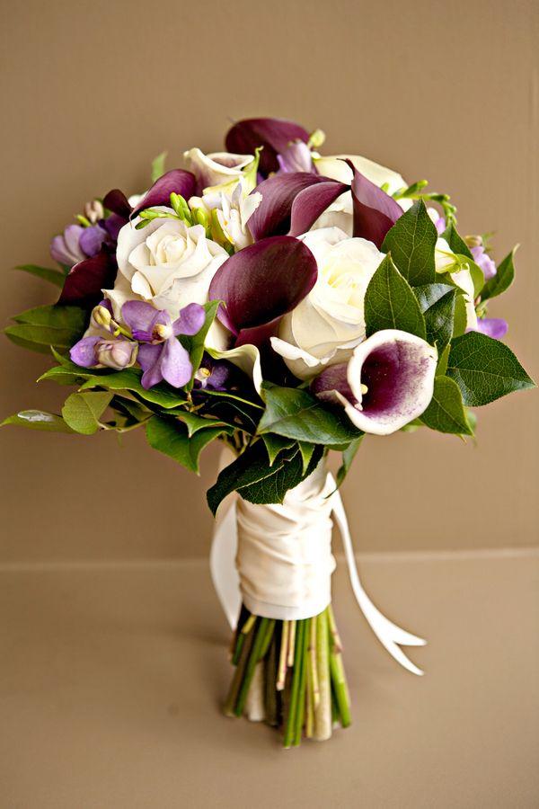 Purple, purple & ivory bouquet