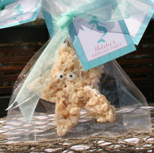 Starfish rice krispie treats as the party favor at a mermaid party.  The cute tags are from www.swankypress.com!