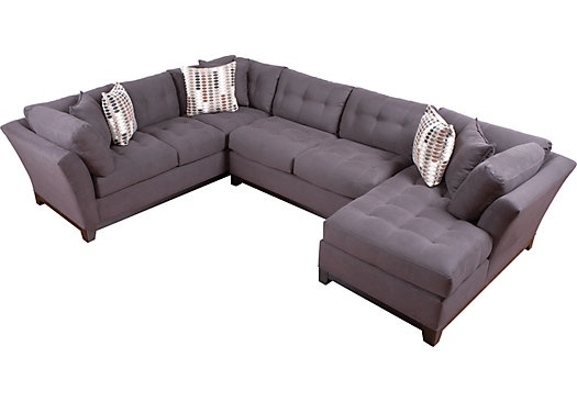 Cindy Crawford Home  Metropolis Slate Right 3 Pc Sectional