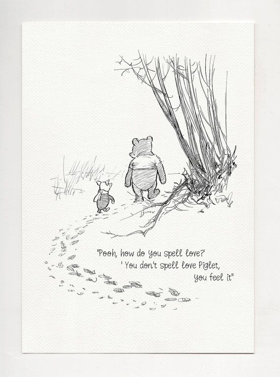 Pooh, how do you spell love? – Winnie the Pooh Quotes – classic vintage style poster print #33