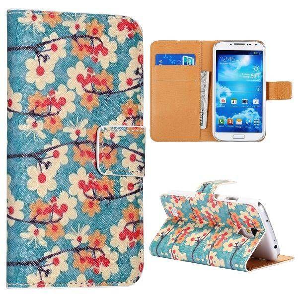 Abstracte bloemen bookcase voor Samsung Galaxy S4