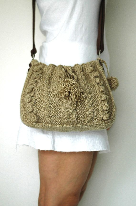 cream messenger Bag with adjustable long strap hand made knited knit