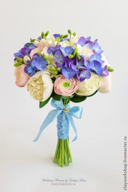 Букет невесты с пионами и гортензией. Состав букета: пионы, ранункулюсы, фрезия, гортензия. Букет невесты, свадебные цветы, цветы из полимерной глины,  wedding flowers, Bridal bouquet, wedding bouquet, deco clay
