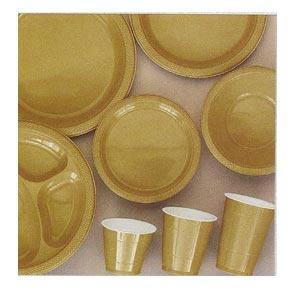 Plastic Tableware - Gold (9 items)