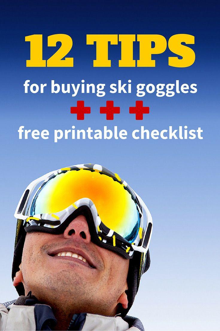Free printable checklist for buying ski goggles.