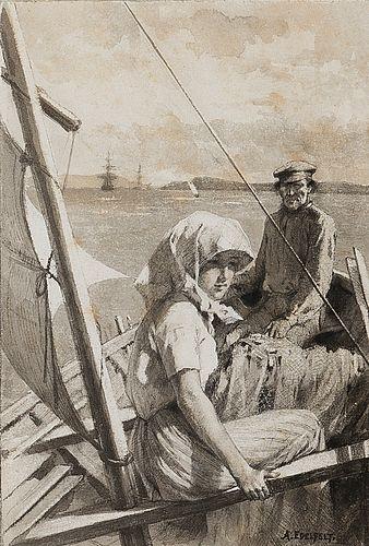 "ALBERT EDELFELT ""MERELLÄ, HYVÄNTEKEVÄISYYSLAVEERAUS"". Sign. Tussi, vesiväri ja guassi 23x16 cm."