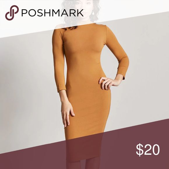 """Mock Neck Bodycon Dress Camel Brown Forever 21 Mock Neck Bodycon Dress Camel Brown Style Deals - A knit bodycon dress featuring a mock neck, long sleeves, and a midi length. Content + Care - 93% cotton, 7% spandex  - Hand wash cold  - Made in Vietnam  Size + Fit - Model is 5'8"""" and wearing a Small  - Full length: 33.5""""  - Chest: 34""""  - Waist: 28""""  - Sleeve length: 18""""  Product Code : 2000224401 Forever 21 Dresses Midi"""