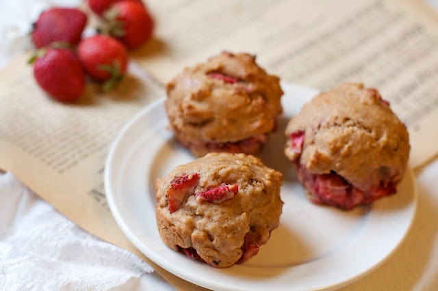 Vegan Strawberry Muffins - great way to use strawberries that are about to turn
