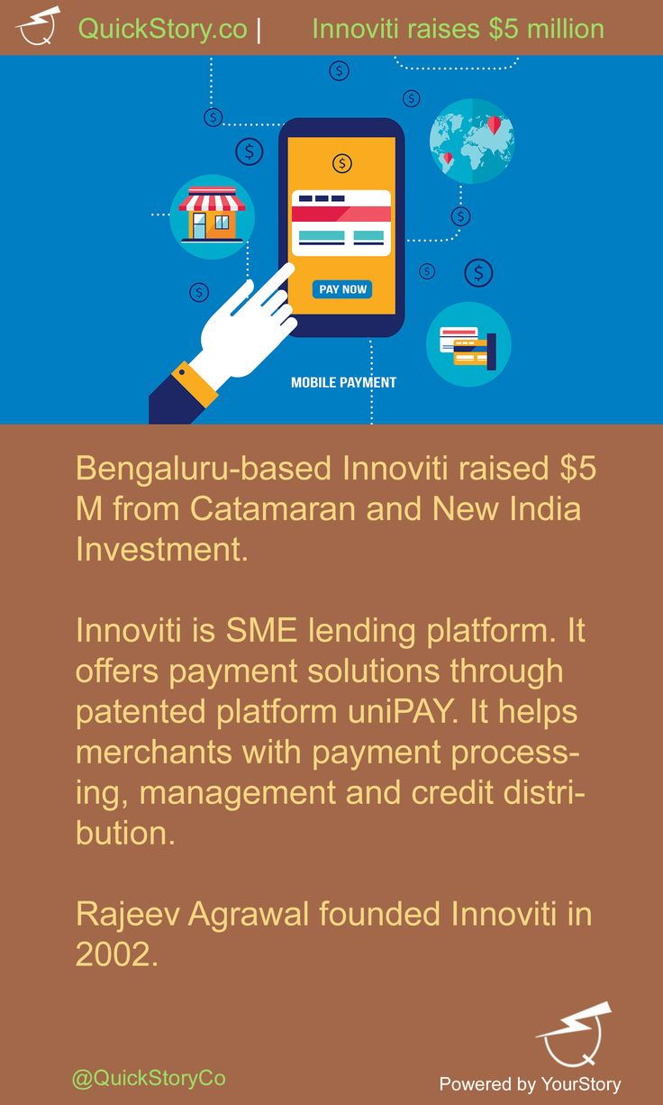 In July 2015, Innoviti raised $5 M from Catamaran and New India Investment.